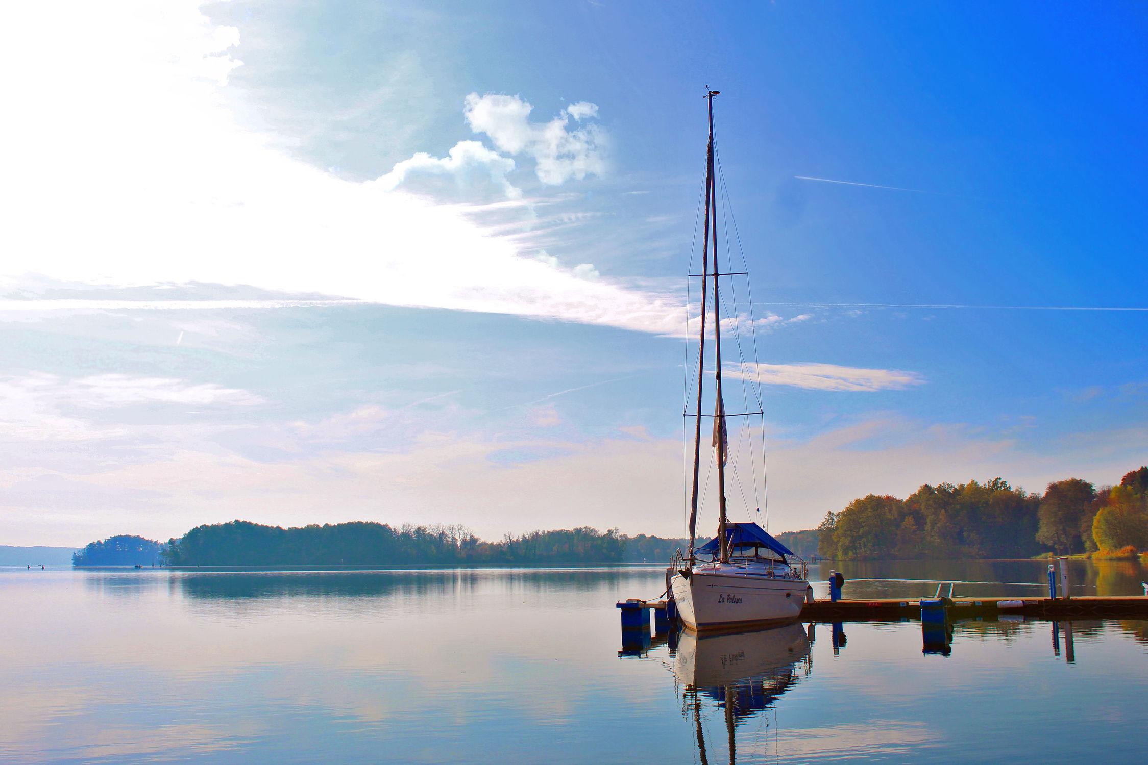 Bild mit Segelboote, Sonnenaufgang, Steg, Sunset, See, Scharmützelsee
