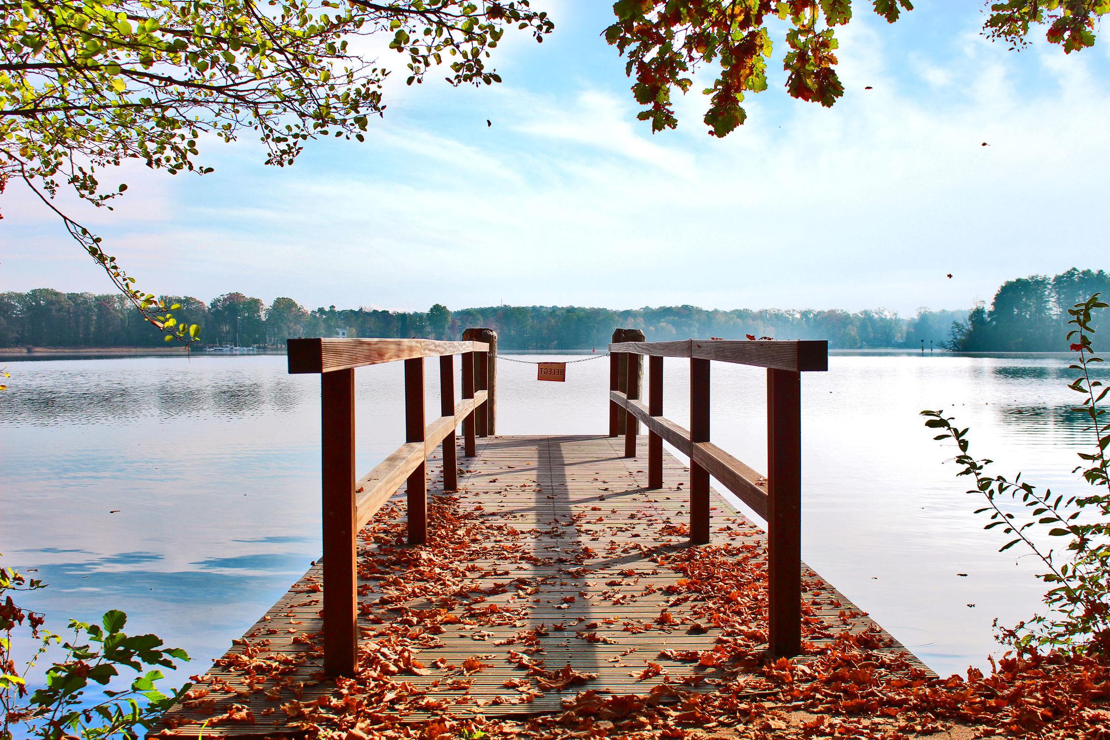 Bild mit Gewässer, Herbst, Sonnenuntergang, Sonnenaufgang, Steg, Holzsteg, Scharmützelsee