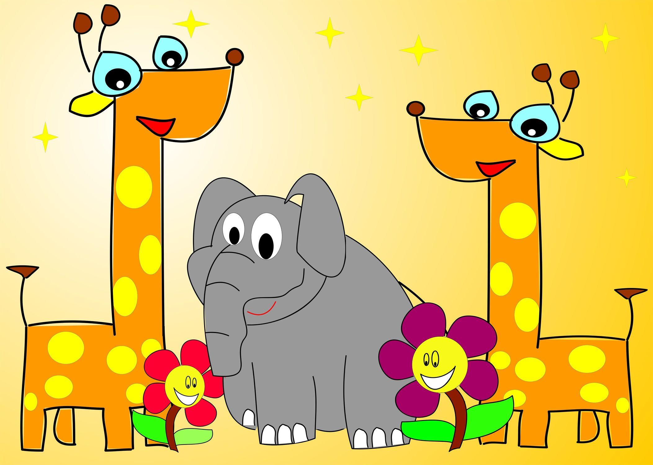 Bild mit Zeichnung, Illustration, Kinderbild, Kinderbilder, Kinderzimmer, Giraffe, Kinder, Elefant, Elephant