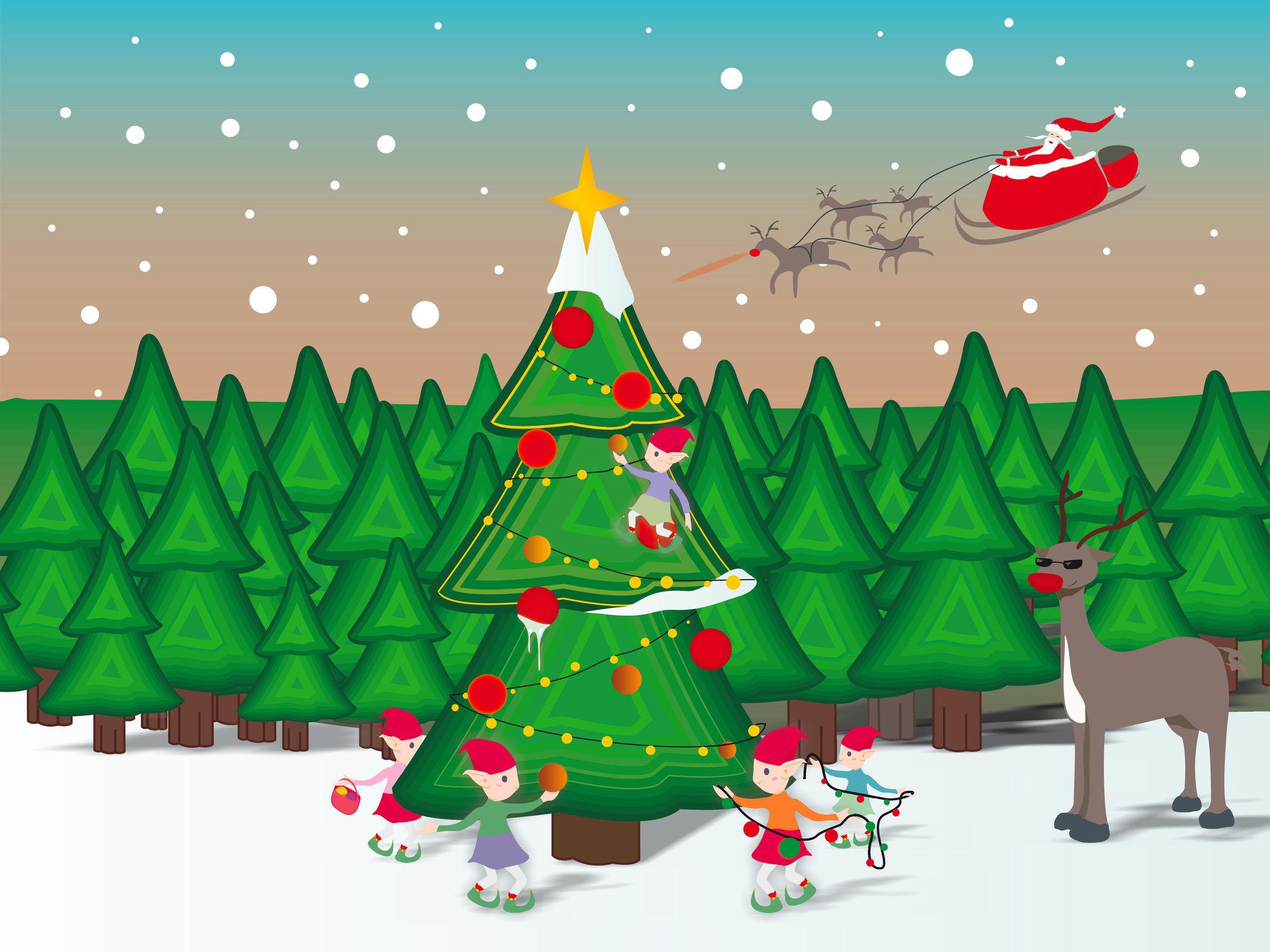 Bild mit Tiere, Winter, Schnee, Tanne, Tier, Kinderbild, Kinderbilder, Kinderzimmer, Kinderwelt, Kinder, Kind, Weihnachten, xmas, Christmas, Renntier, Renntiere, Weihnachtsbaum, Weihnachtsmann, Elfen, Elfe, Wichtel, Weihnachtswichtel, Santa Claus, Sankt Nikolaus, Renntierschlitten, Schlitten, winterlandschaft
