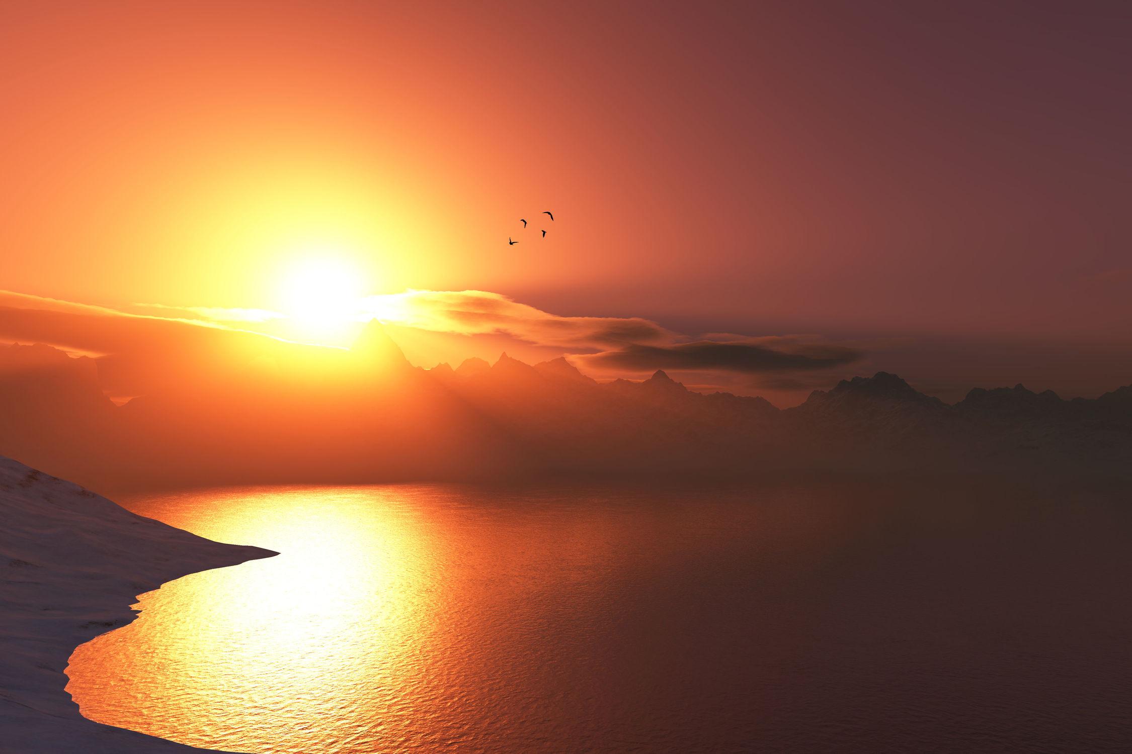 Bild mit Landschaften, Berge, Gewässer, Seen, Sonnenuntergang, Sonnenaufgang, Sonne, Landschaft, See, landscape, berg, aussicht, atemberaubend