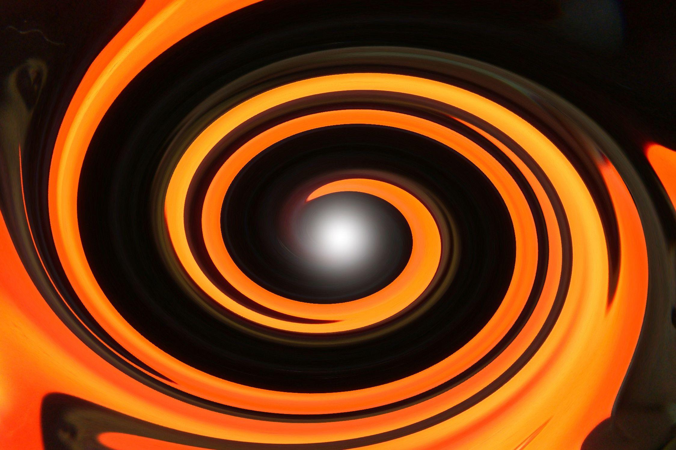 Bild mit Farben, Orange, Gelb, Gegenstände, Figuren und Formen, Spiralen