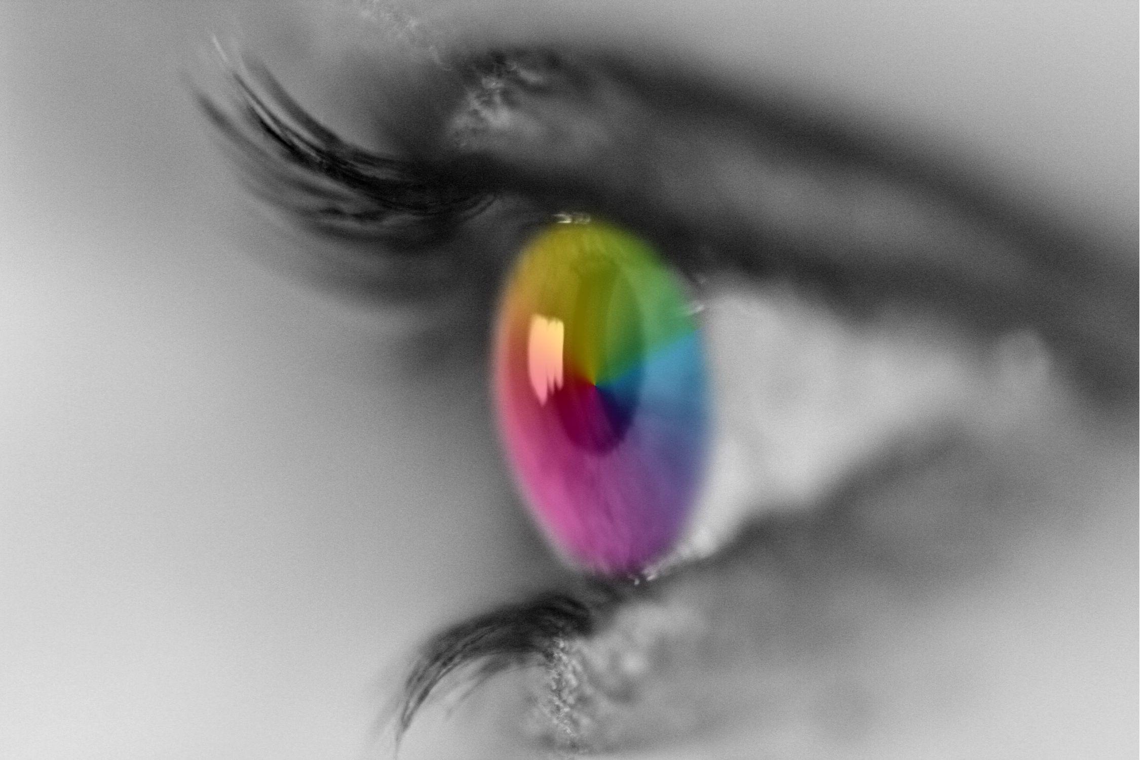 Bild mit Menschen, Körperteile, Köpfe, Augen, Augenbrauen, Wimpern, Regenbögen