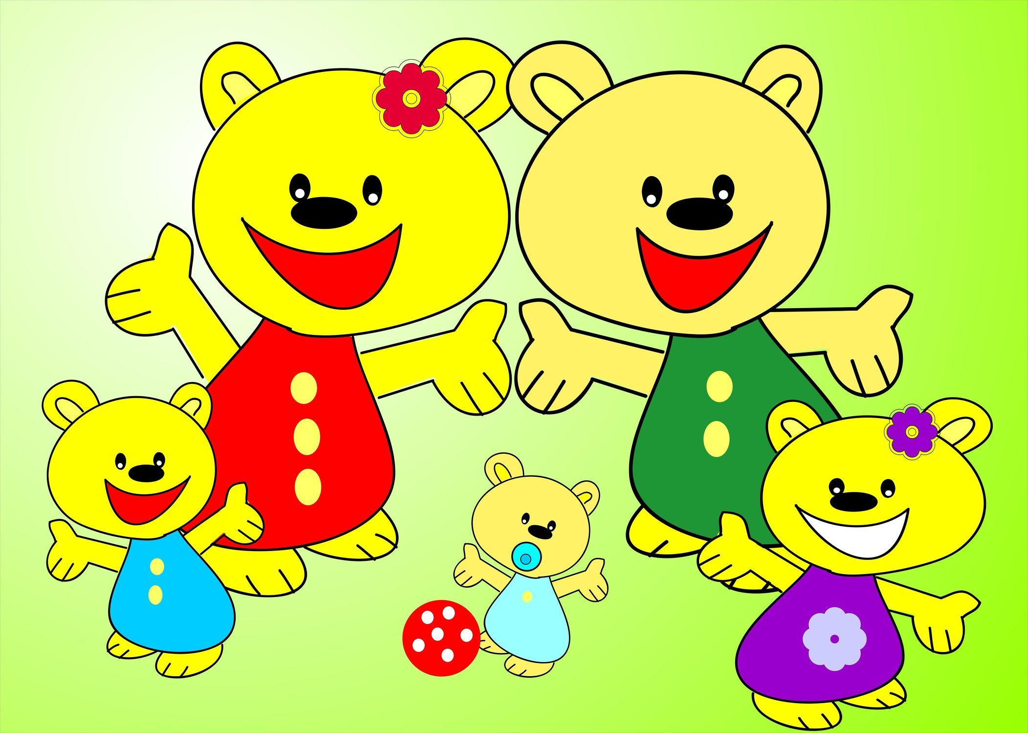 Bild mit Farben, Gelb, Menschen, Aussehen, Glücklich, Lächeln, Zeichnung, Illustration, Kinderbild, Kinderbilder, Kinderzimmer, Kinderwelt, Bär