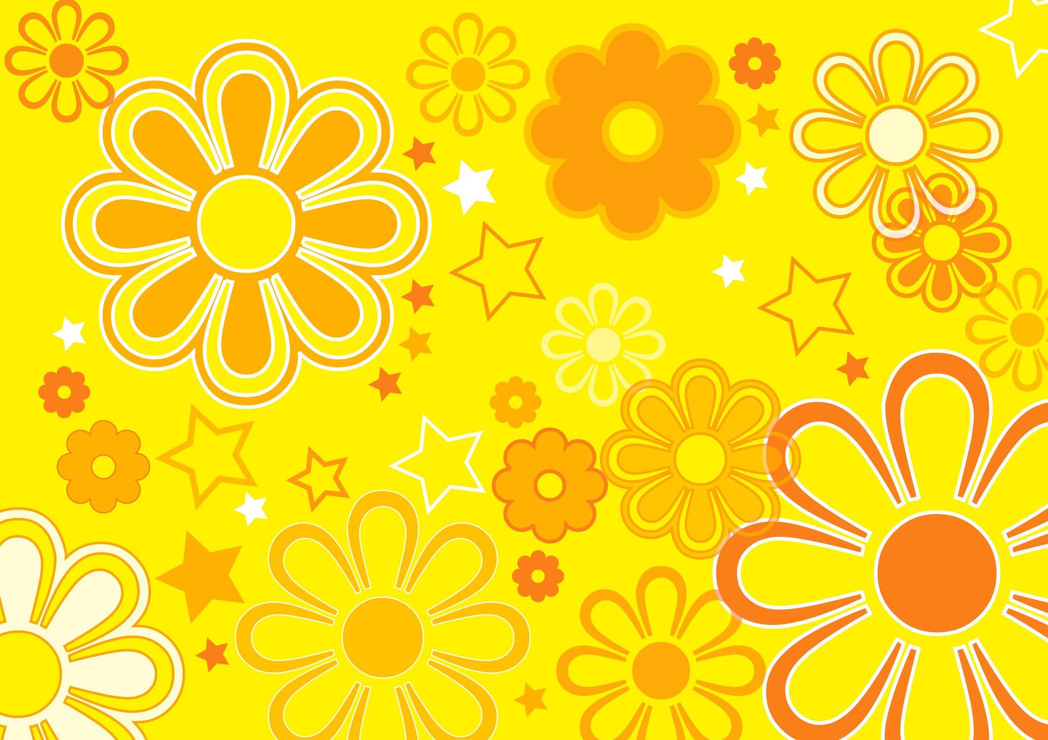 Bild mit Farben, Orange, Gelb, Kunst, Natur, Pflanzen, Blumen, Illustration, Abstrakt, Abstrakte Kunst, Abstrakte Malerei, Kunstwerk, Retro