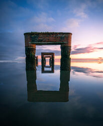 Bild mit Sonnenuntergang, Sonnenuntergang, Bauwerke, Meer, Nordsee, Spiegelung, Küste, Historisch, Ostfriesland