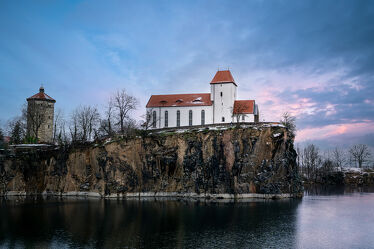 Bild mit Winter, Schnee, Sonnenuntergang, Sonnenaufgang, Landschaft, See, Kirche, Sachsen, Bergkirche, Bergkirche Beucha