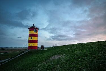 Bild mit Sonnenuntergang, Sonnenaufgang, Landschaft, Nordsee, Leuchtturm, Niedersachsen, Norden, Deiche