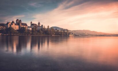 Bild mit Seen, Sonnenuntergang, Städte, Sonnenuntergänge