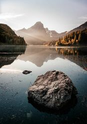 Bild mit Berge, Seen, Sonnenuntergang, Bergsee
