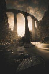 Bild mit Sonnenuntergang, Architektur, Sonnenuntergänge, Historisch, viadukt