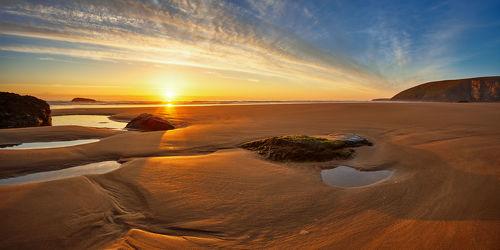 Bild mit Natur,Natur,Natur,Wasser,Gewässer,Sonnenuntergang,Sonnenaufgang,Sonne,Strand,Sandstrand,England,Am Meer,großbritannien,ozean,Cornwall,mawgan porth,Sand und Meer
