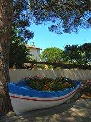 Mit Blumen bepflanztes Boot
