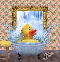 Bild mit Wasser, Wasser, Ente, Splash, Baden, Wasserspiegelung, Badezimmer, Quitscheente, badeente, badewanne, Spiegel