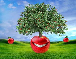 Lachender Apfel mit Apfelbaum