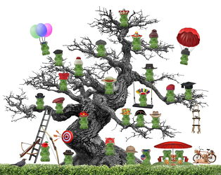 Bild mit Abstrakt, Kinderbilder, Bär, Bier, Kind, Kunst fürs Kinderzimmer, Fahrrad, Sonnenschirm, humor, picknick, Hut, Gummibären, luftballon, indianer, koch, könig, fallschirm