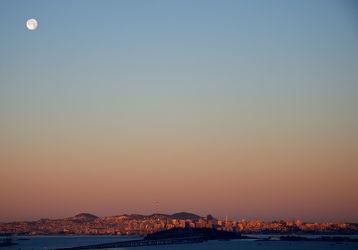 Bild mit Himmel, Sonnenuntergang, Städte, Sonnenaufgang, Mond, Mond, Stadt, Sky, San Francisco, Abend, Vollmond