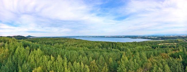 Bild mit Gewässer,Panorama,Landschaft,Seeblick,See,Görlitz,Berzdorfer See,landscape,Blick über den See,Landeskrone,Berzdorfersee,Seepanorama