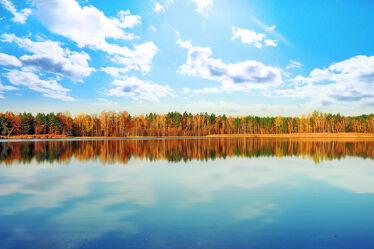 Bild mit Natur, Wasser, Wolken, Gewässer, Herbst, Wolkenhimmel, Landschaft, Seeblick, See, Spiegelungen, Sachsen, Inselsee, Insel See