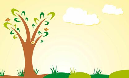 Bild mit Vögel, Baum, Landschaft, Illustration, Wiese, Kinderbild, Kinderbilder, Kinderzimmer, Kinderwelt, Babyzimmer