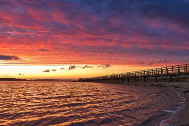 Bild mit Sonnenuntergang, Meerblick, Ostsee, Lübecker Bucht, Sunset, Holzsteg, Seebrücke, Timmendorf, Timmendorfer Strand, Niendorf