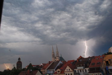 Bild mit Städte,Stadt,Görlitz,Altstadt,Peterskirche,Gewitter,City,sturm,Görlitzer,Blitze,Blitz,Donner