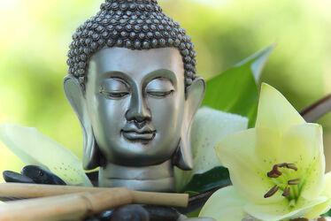Großer Buddha mit weißer Lilien Blüte