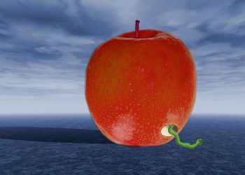 Apfel mit  Wurm