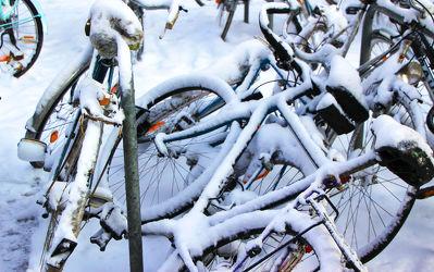 Bild mit Schnee,Fahrräder