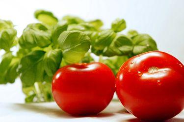 Bild mit Lebensmittel, Tomate, Tomate, Tomaten, Gemüse, Küchenbild, Küchenbilder, Küche, Kochbild, Basilikum