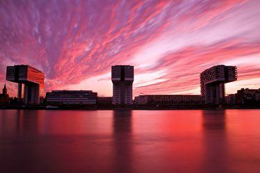 Bild mit Wasser, Flüsse, Sonnenuntergang, Städte, Sonnenaufgang, Abendrot, Stadt, Köln, Fluss, Rhein, kölner