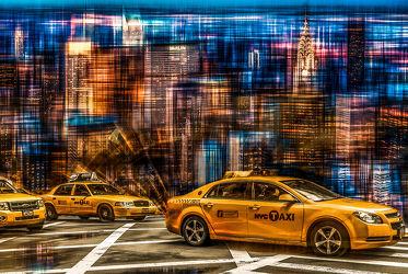 Bild mit Kunst, Abstrakt, art, New York, USA, hochhaus, wolkenkratzer, Hochhäuser, Yellow cab, taxi, taxi, Taxis, Manhatten