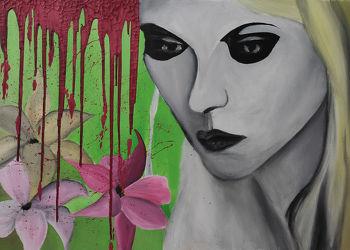 Bild mit Augen,Grün,Blumen,Augenbrauen,Haare,Blume,Lilie,Auge,Menschenauge,Lilien,Blumen und Blüten,Trauer,liliengewächse,Blüten,Frau,Emotionen,Frauen,Glitzern,Langhaar,hübsche Frau,Gefärbte Haare,Ehefrau,Mädchen