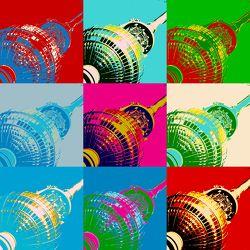 Bild mit Wahrzeichen, Berlin, Fernsehturm, Berliner Fernsehturm, Bunt, Pop Art, Funkturm, freaky, abgefahren, verrückt