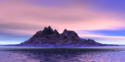Bild mit Wasser, Sonnenuntergang, Sonnenaufgang, Abendrot, Dämmerung, Panorama, Meer, Insel, berg, Abend, ozean, Abendstimmung, Einsam
