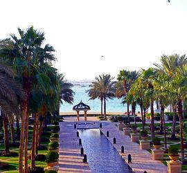 Bild mit Urlaub,Palmen,Sommer,Wege,Strand,Meer,Weg,Palme,Am Meer,Häuschen,Dubai,zum Strand