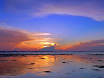Bild mit Wasser, Himmel, Wolken, Sonnenuntergang, Meer, Wattenmeer, Emden, Ostfriesland, Ostfriesland, Abendsonne, Dollart, Knock, Wolkenfront