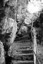 Bild mit Natur, Felsen, Licht, schwarz weiß, treppe, Schatten, Laub, Steintreppe, Treppengeländer