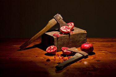 Bild mit Kunst, Früchte, Frucht, Obst, Küchenbild, Stillleben, Küchenbilder, KITCHEN, frisch, Küche, Kochbild, Granatäpfel, Granatäpfel, axt