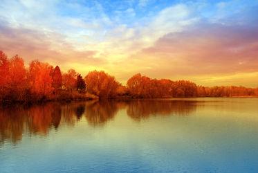 Bild mit Natur,Wasser,Landschaften,Bäume,Gewässer,Herbst,Sonnenuntergang,Sonne,Baum,Berlin,Landschaft,See,spektesee