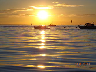 Bild mit Sonnenuntergang,Segelboote,Sonnenaufgang
