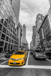 New York: Yellow Cab + Schwarz-weiß (Colorkey)