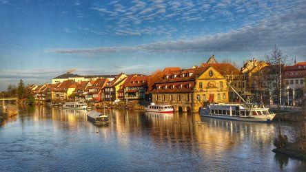 Bild mit Wasser,Urlaub,Deutschland,Blau,Stadt,City,Reise,Städtereisen,germany,Fluss,franken,sightseeing,regnitz,bamberg,franconia