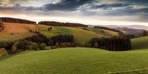Bild mit Natur, Hügel, Weiden und Wiesen, Wolkenhimmel, Landschaft, Gebirge, Abendlicht, schwarzwald, bauernhof, panoramabild