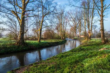 Bild mit Natur, Wasser, Grün, Bäume, Sonnenaufgang, Landschaft, Bach, Ruhe, Entspannung, Fluss, Ufer, Kahl, Unterfranken, Flusslauf