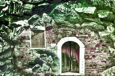 Bild mit Felsen, Häuser, Steine, tür, wand