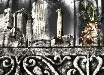 Bild mit Stein, Palme, Tempelanlagen, Fragment