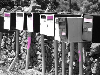 Bild mit Natur, Wegesrand, schwarz weiß, Briefkasten