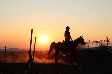 Bild mit Himmel, Sonnenaufgang, Sonne, Landschaft, Pferd, Sonnenuntergänge, Sonnenauf/untergang, Reiterin, Freiheit