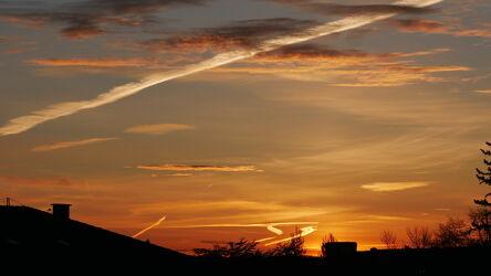 Bild mit Natur, Himmel, Wolken, Sonnenaufgang, Sonne, Panorama, orangerot, Details, wetterfoto